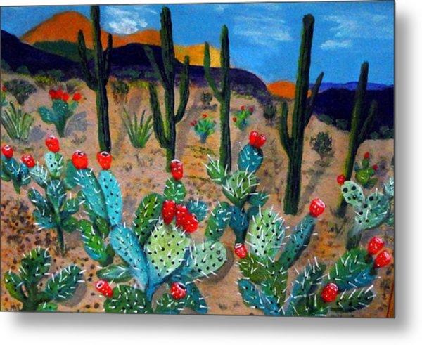 Prickly Pear Cactus Tucson Metal Print