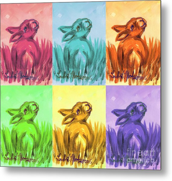 Metal Print featuring the painting Primary Bunnies by Linda L Martin