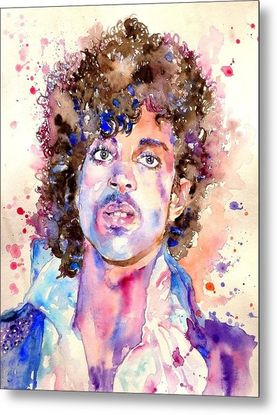 Prince Rogers Nelson Watercolor Metal Print