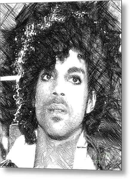 Prince - Tribute Sketch In Black And White 3 Metal Print