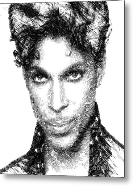 Prince - Tribute Sketch In Black And White Metal Print