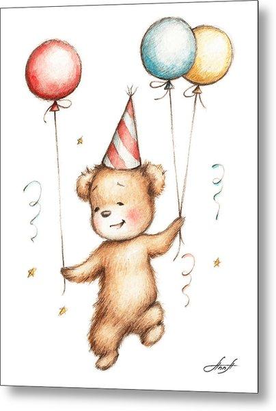 Print Of Teddy Bear With Balloons Metal Print