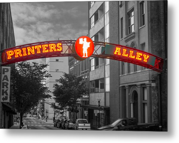 Printers Alley Sign Metal Print