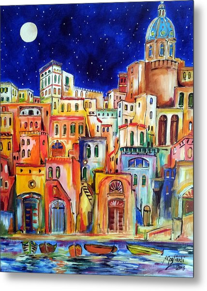 Procida Under The Moon Metal Print