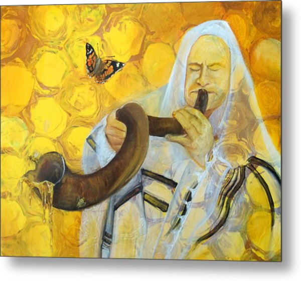 Prophetic Message Sketch Painting 9 Honey Dripping From The Shofar Metal Print