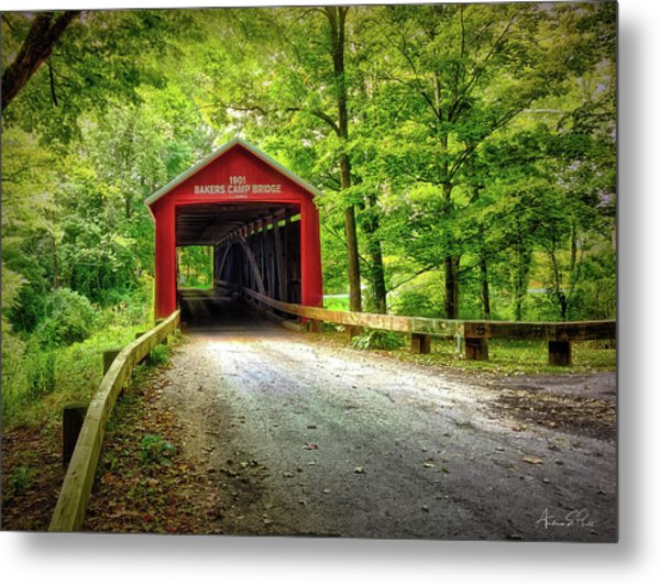 Protected Crossing In Summer Metal Print