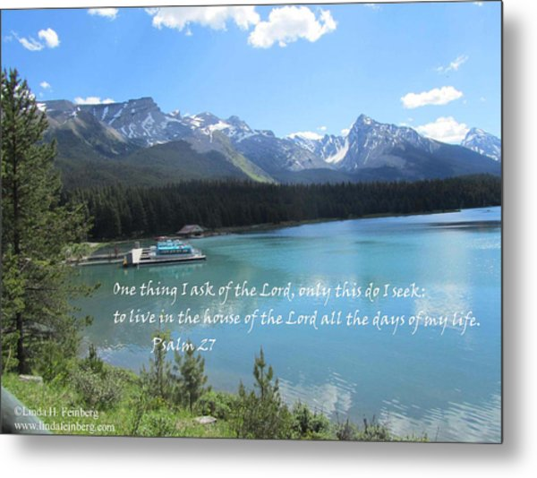 Metal Print featuring the painting Psalm 27 With Maligne Lake by Linda Feinberg