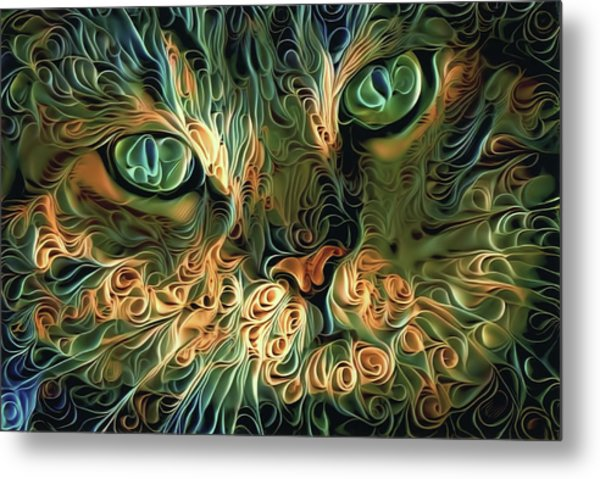 Psychedelic Tabby Cat Art Metal Print