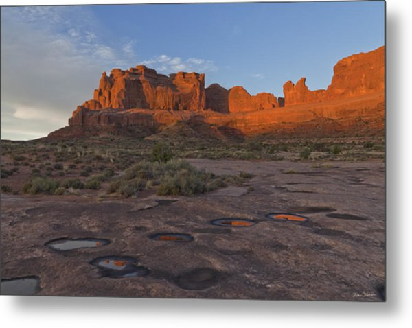 Puddle Reflections At Sunrise Metal Print