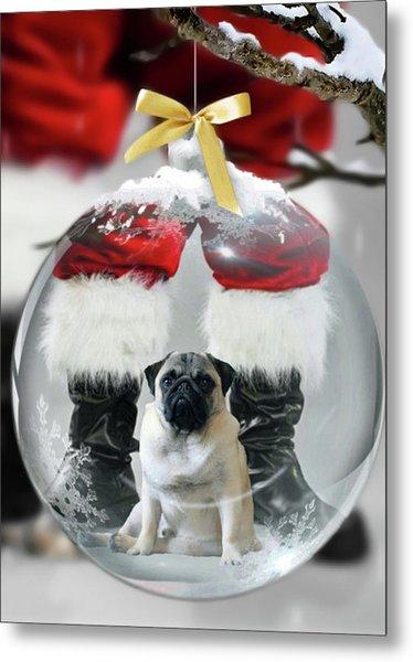 Pug And Santa Metal Print