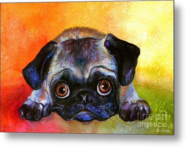 Pug Dog Portrait Painting Metal Print