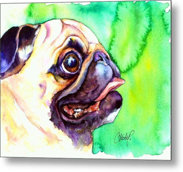Pug Profile Metal Print