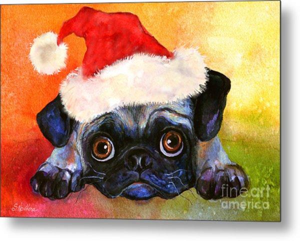 Pug Santa Portrait Metal Print