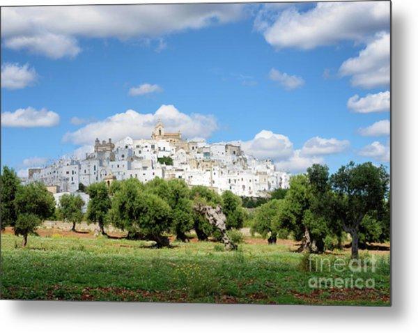 Puglia White City Ostuni With Olive Trees Metal Print