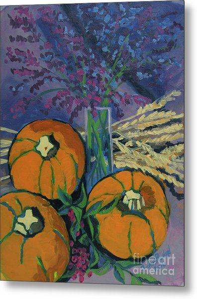 Metal Print featuring the painting Pumpkins And Wheat by Erin Fickert-Rowland