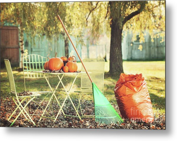 Pumpkins On The Table Metal Print