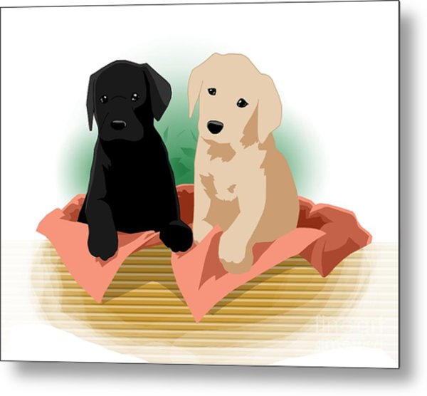 Puppy Basket Metal Print