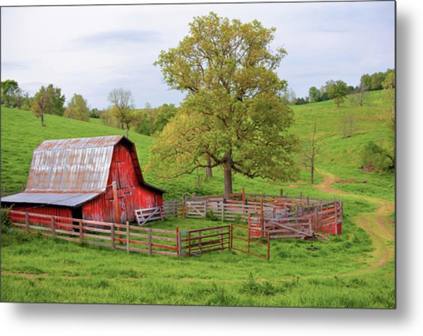 Metal Print featuring the photograph Pure Arkansas - Red Barn by Gregory Ballos