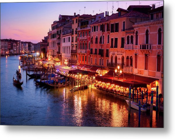 Cityscape From The Rialto In Venice, Italy Metal Print