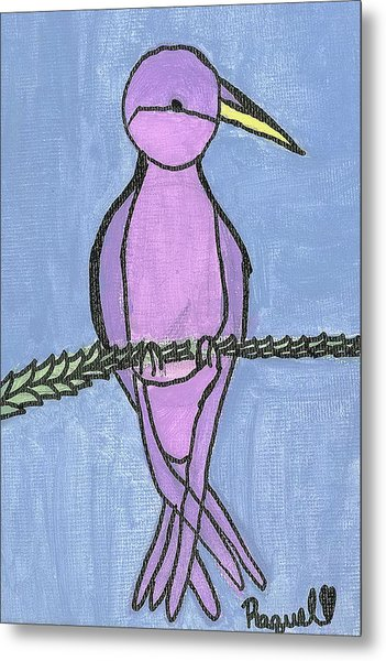 Purple Bird Perched Metal Print by Fred Hanna