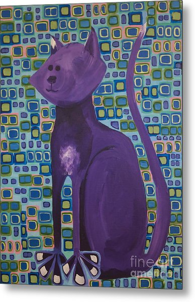 Purple Cat Metal Print