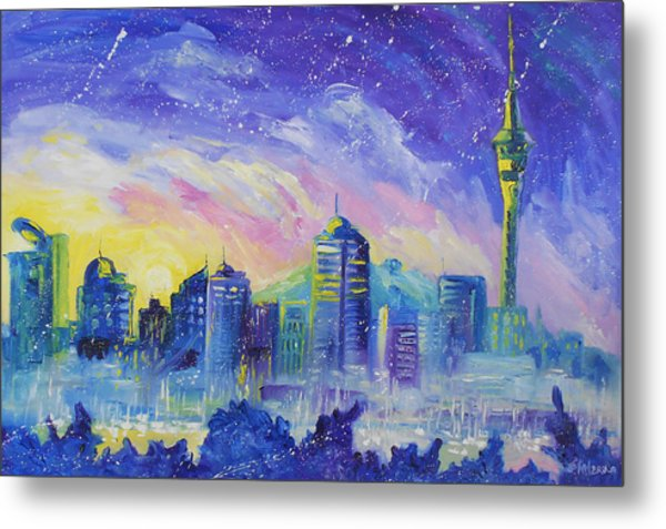 Purple City Metal Print