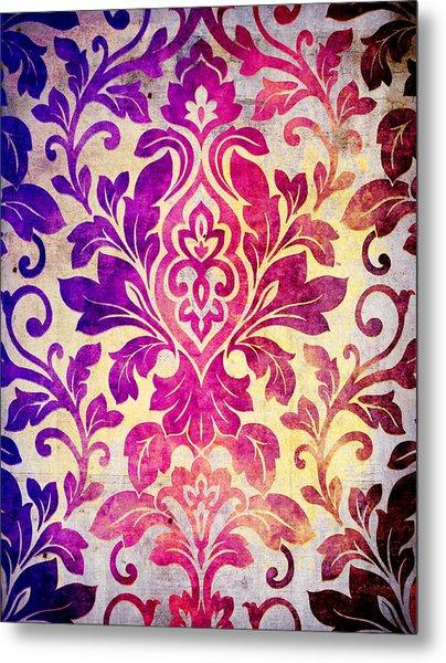 Purple Damask Pattern Metal Print