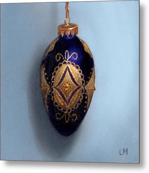 Purple Filigree Egg Ornament Metal Print