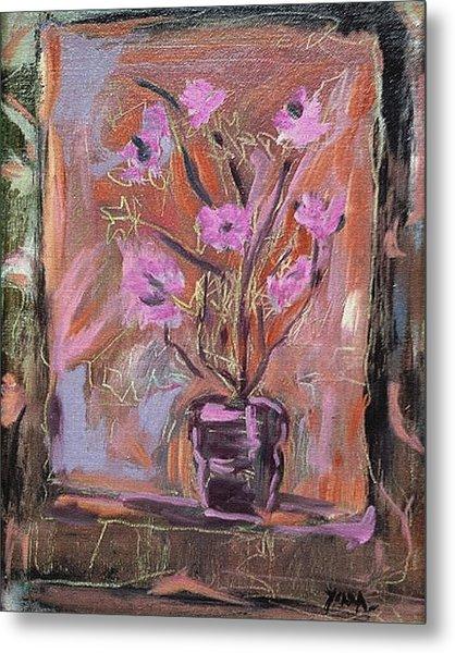 Purple Flowers In Vase Metal Print