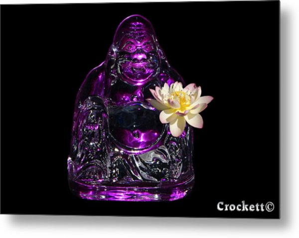 Purple Glass Buddah With Yellow Lotus Flower Metal Print