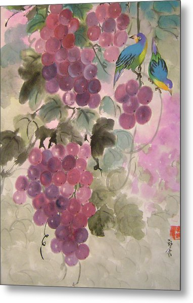 Purple Grapes And Blue Birds Metal Print by Lian Zhen