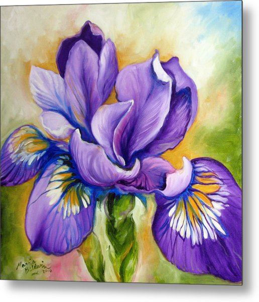 Purple Iris Wildflower Metal Print