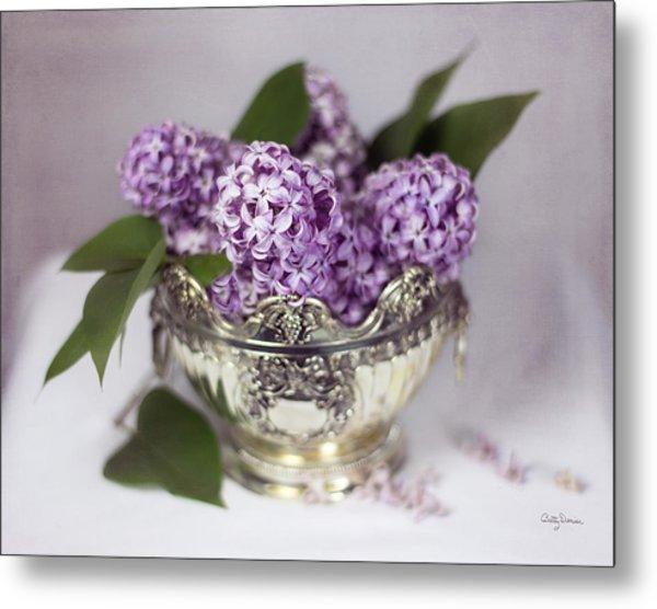 Purple Lilacs In Silver Bowl Metal Print