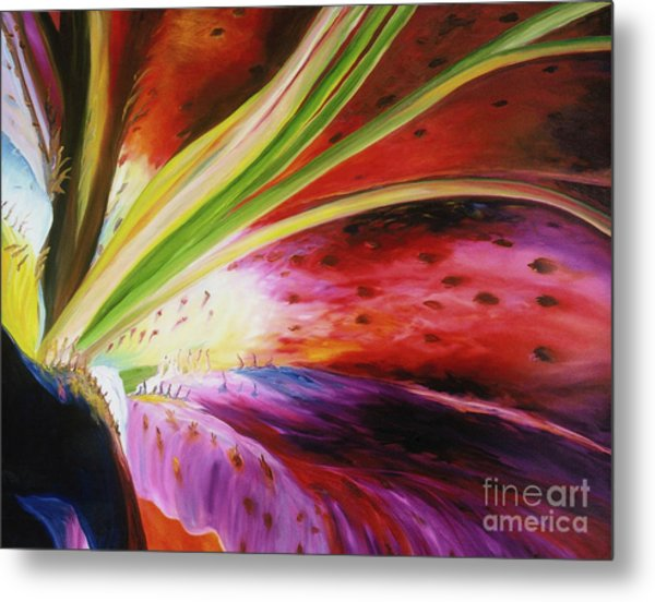 Metal Print featuring the painting Purple Lily by Donna Hall