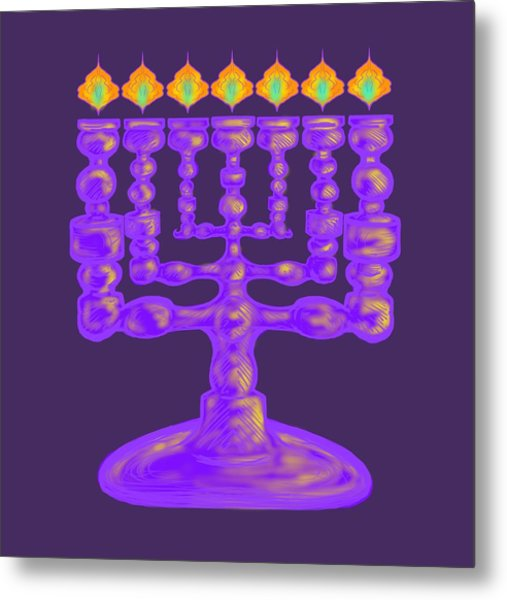 Purple Menorah Flamed Metal Print
