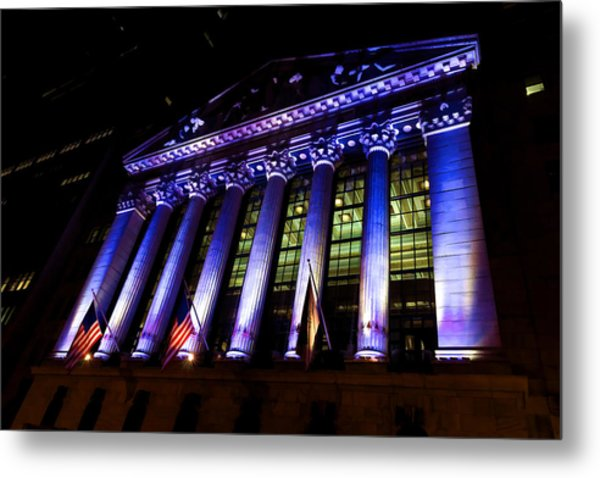 Purple New York Stock Exchange At Night - Impressions Of Manhattan Metal Print