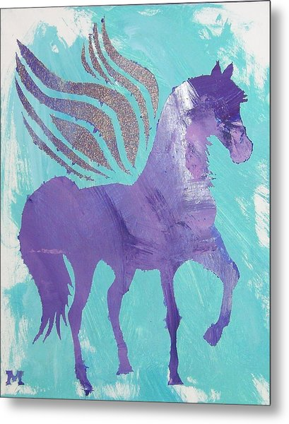 Purple Pegasus Metal Print