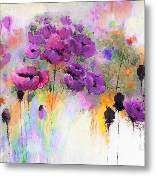 Purple Poppy Passion Painting Metal Print