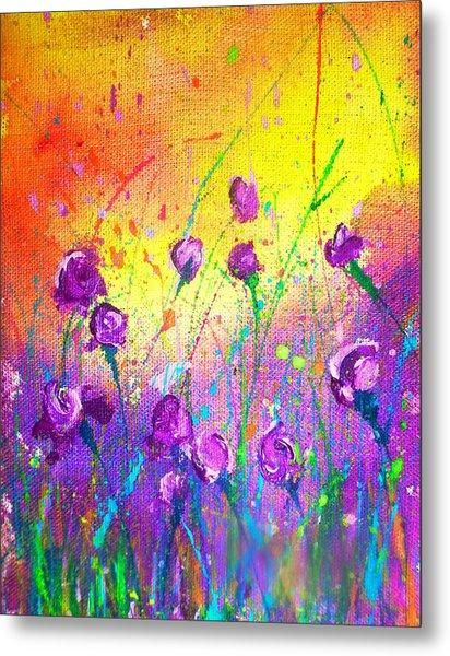 Purple Posies Metal Print