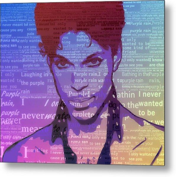 Purple Rain Typography Metal Print