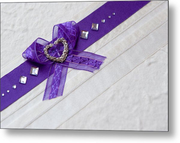 Purple Ribbon Heart Metal Print
