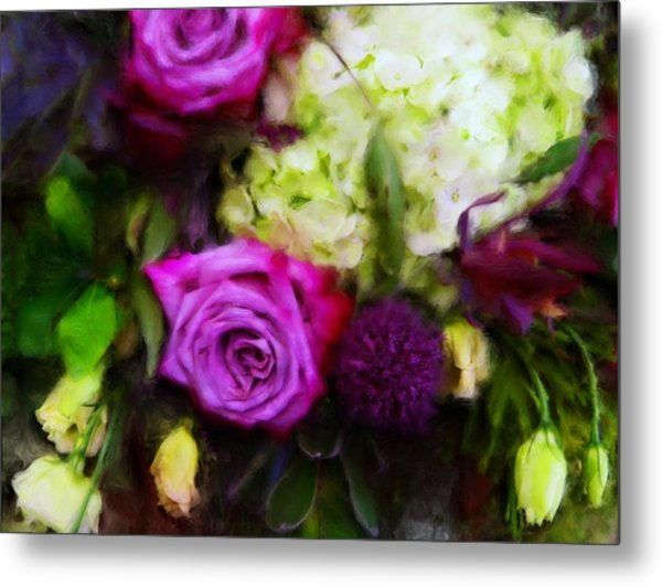 Purple Roses With Hydrangea Metal Print