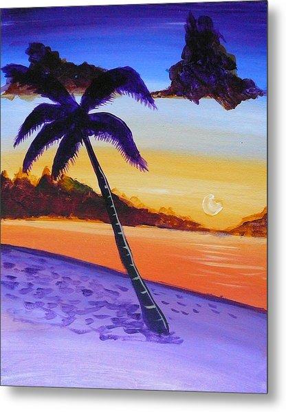 Purple Sand Palm Tree Metal Print