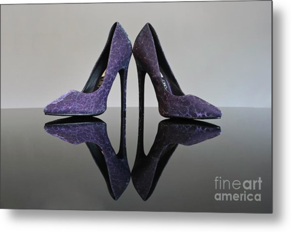 Purple Stiletto Shoes Metal Print