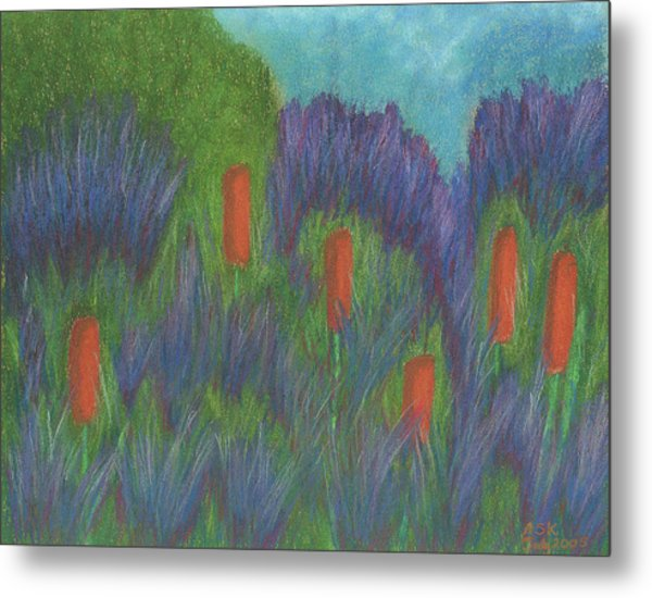 Purple Strife And Cattails Metal Print