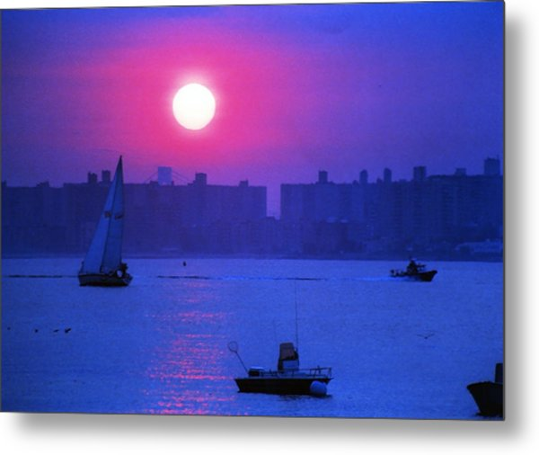 Purple Sunset Off Breezy Point Bayside Metal Print