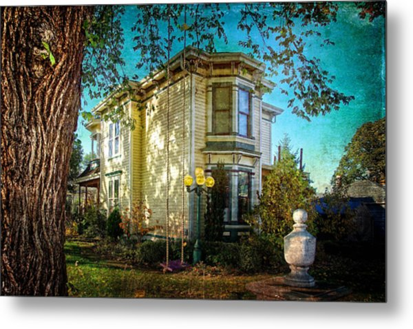 House With The Purple Swing Metal Print