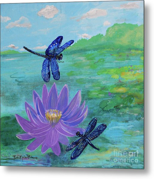 Purple Water Lily And Dragonflies Metal Print
