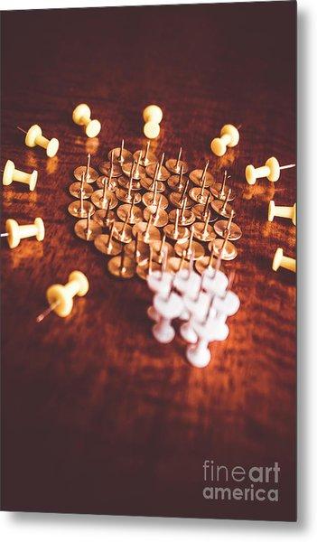 Pushpins And Thumbtacks Arranged As Light Bulb Metal Print