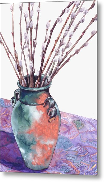 Pussy Willows Bouquet Metal Print by Caron Sloan Zuger